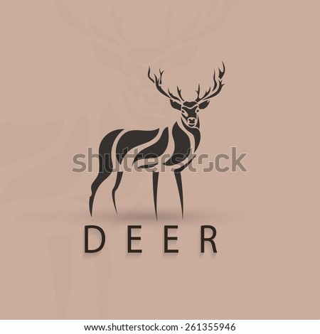 Artistic stylized deer shape. Vector silhouette wild animal. Creative art logo design. - stock vector