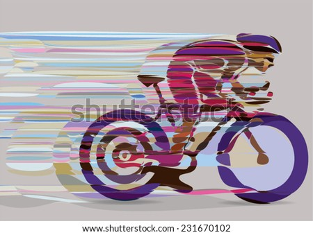 Artistic stylized racing cyclist in motion. Vector illustration. - stock vector