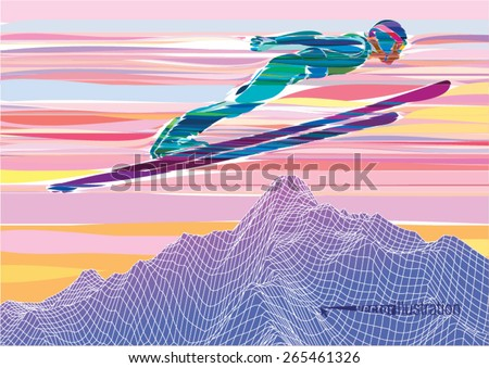 Artistic stylized skier jumping from the springboard, during sunset in the mountains - stock vector