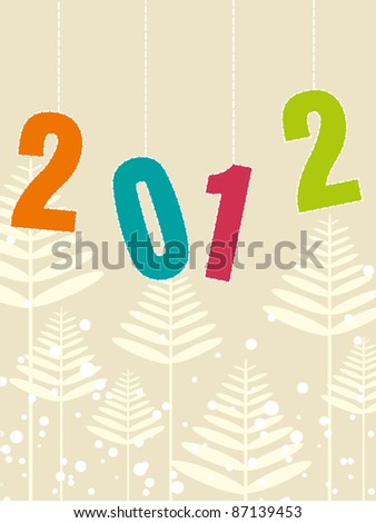 artistic tree concept background with 2012 - stock vector