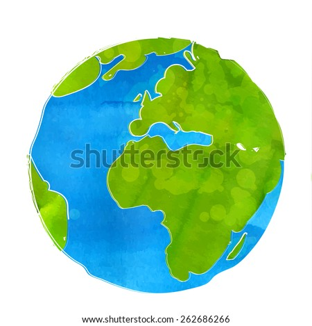 Artistic vector illustration of Earth globe isolated on white background. Watercolor style with swashes, spots and splashes. - stock vector