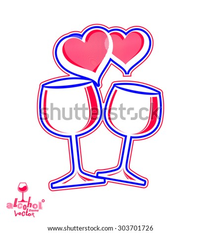 Artistic vector illustration of wineglasses with two elegant loving hearts. Wedding couple concept, stylized goblets of wine, best for use in graphic and web design.  - stock vector