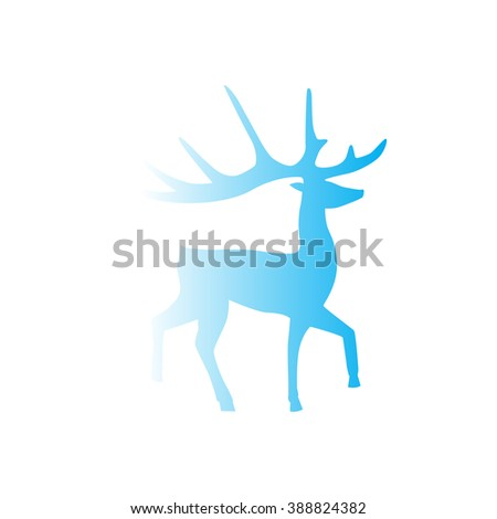 Artistic vector silhouette of a deer blue gradient color. Vector icon.