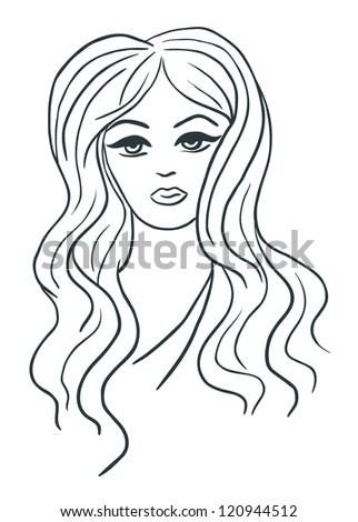 Artistic vector sketch of beautiful girl