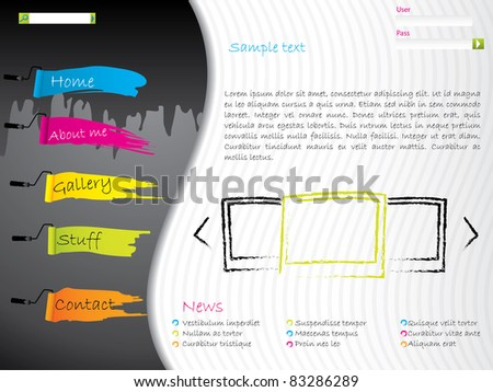 Artistic website template design with paint effects - stock vector