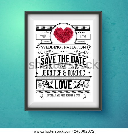 Artistic Wedding Invitation Concept Design on Frame Hanging on Blue Green Wall. Emphasizing Save the Date Texts. - stock vector