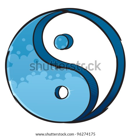 Artistic yin-yang symbol - stock vector