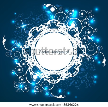 artistically abstract circle on a dark blue background - stock vector