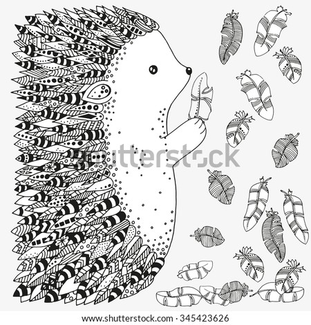 Artistically ornamental prickly hedgehog and feathers. Hand-drawn, ethnic, floral, retro, doodle, vector, zentangle, tribal design elements. Pattern for coloring book - stock vector