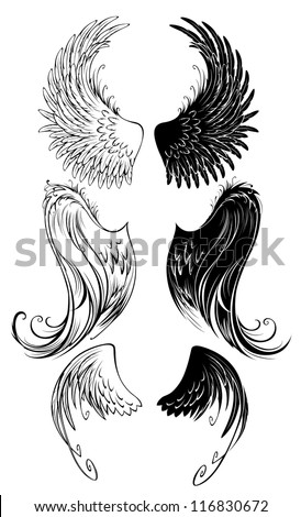 artistically painted angel wings on a white background. - stock vector