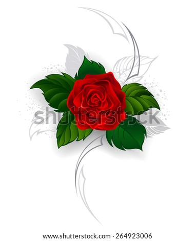 artistically painted, blooming red rose with gray leaves in the style of a tattoo on a white background. - stock vector