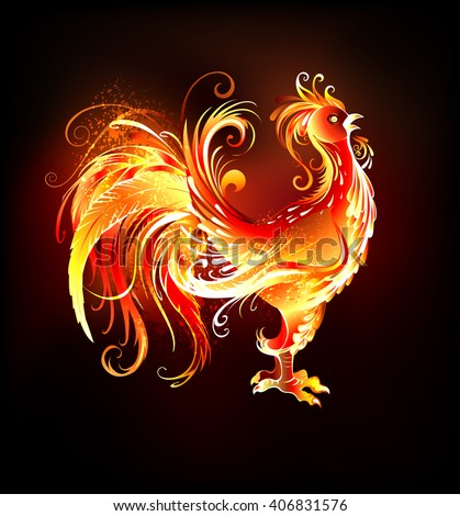 Artistically painted, bright fire rooster on a black background. Symbol 2017.  - stock vector