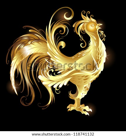 artistically painted rooster gold on a dark background. - stock vector