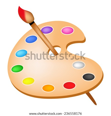 Artists color palette with colors and paint brush illustration isolated on white background