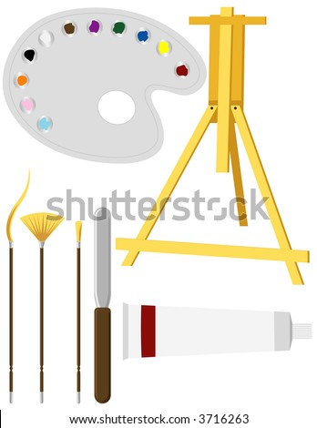 Artists' Painting Supplies - stock vector