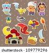 artoon Lamp of Aladdin stickers - stock vector