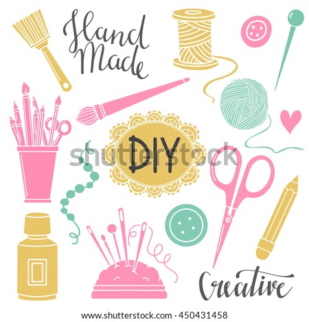 Arts crafts sewing painting hand drawn stock vector for Arts and crafts logo