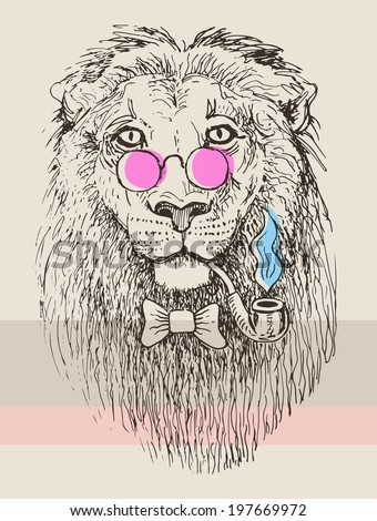 Hipster lion drawing - photo#8