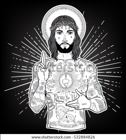 Ghetto stock images royalty free images vectors shutterstock artwork of unconventional jesus like figure with black or dark skin flash ghetto tattoos and sciox Gallery