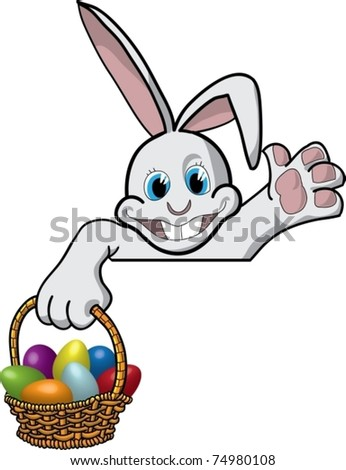 Artwork with funny cartoon rabbit with a basket of Easter eggs looks out over the edge