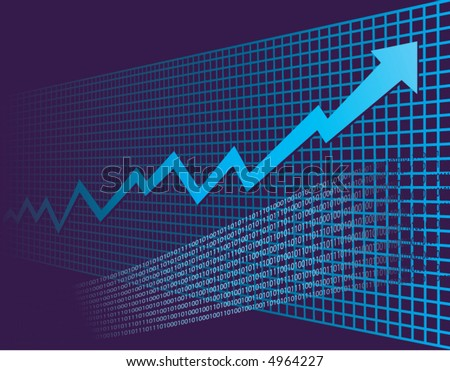 As background graph disappears into perspective, a growth arrow rockets into the future - stock vector