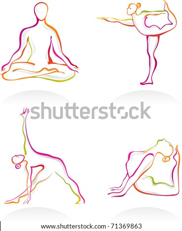 Asanas - Yoga postures outnlines - stock vector