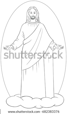 Coloring pages of jesus standing ~ Jesus Ascension Stock Images, Royalty-Free Images ...