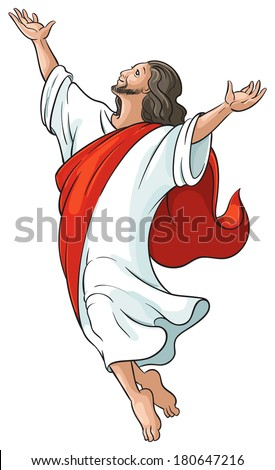 Ascension of Jesus raising hands to God isolated on white. Also availble outlined version - stock vector
