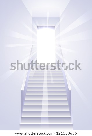 Ascension on a ladder in the white room - concept vector - stock vector
