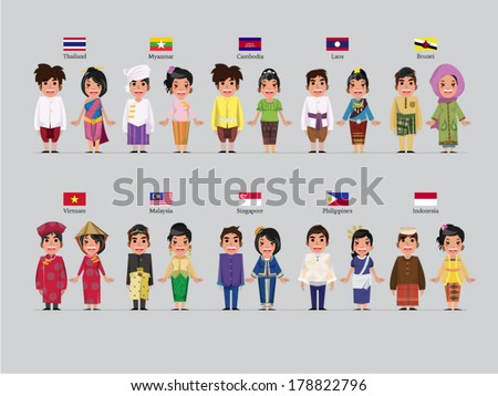 ASEAN boys and girls in traditional costume with flag - stock vector