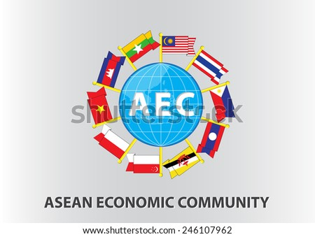Asean Flag with globe illustration, for background (AEC, AFTA, ASEAN), easy to modify - stock vector