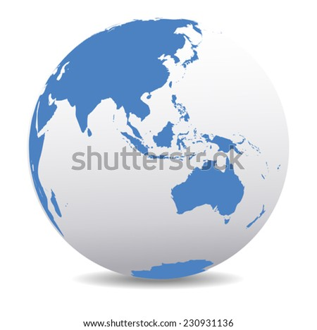 Asia and Australia, Global World - stock vector