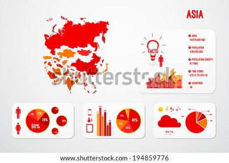 Asia Continent Map Infographics Vector - stock vector