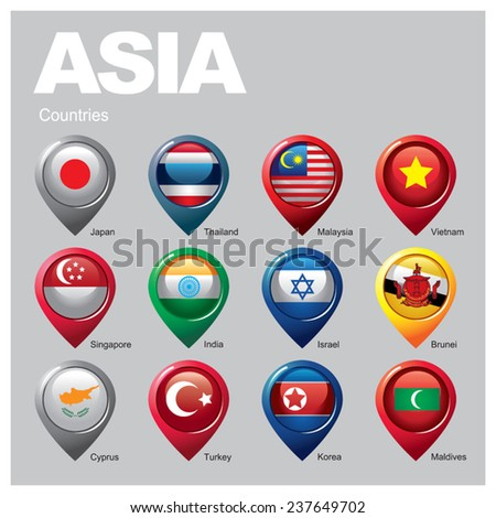 ASIA Countries - Part  Three - stock vector