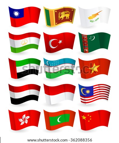 Asia country flying flags set part 3.All elements are separated in editable layers clearly labeled.