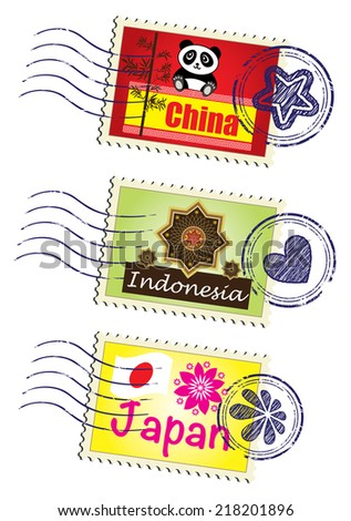 Asia country travel landmark stamp set - stock vector