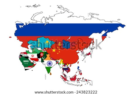 Asia Flag Map All countries of Asia colored in with their flag. - stock vector