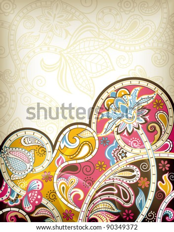 Asia Floral Background - stock vector