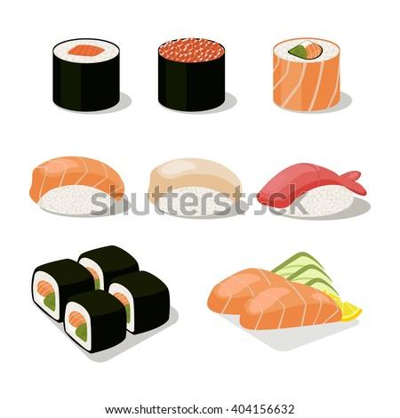 Asia food icon set with sushi rolls sashimi.Flat isolated vector illustration - stock vector