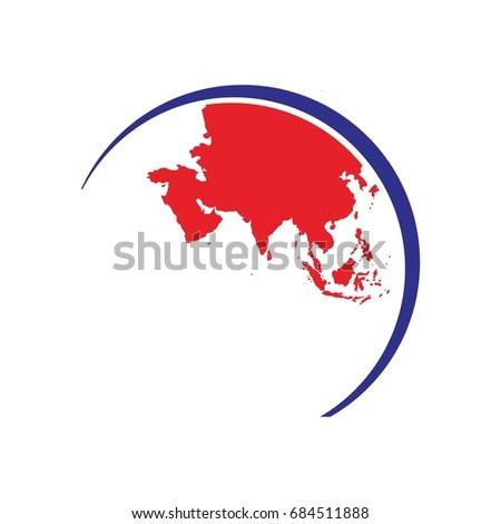 Asia globe map world map logo vectores en stock 684511888 shutterstock asia globe map world map logo vector gumiabroncs Choice Image