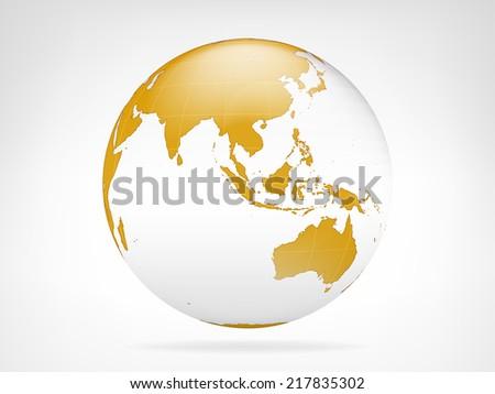 Asia golden planet backdrop view vector illustration - stock vector