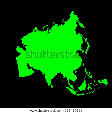 Asia green vector map silhouette isolated on black background.  - stock vector