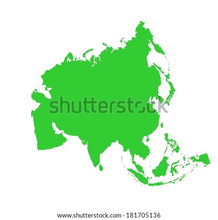 Asia green vector map silhouette isolated on white background. - stock vector