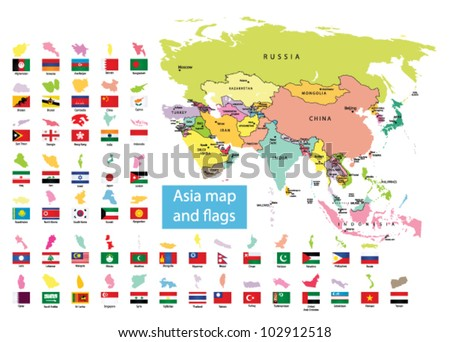 asia map countries flag stock vector 102912518 shutterstock
