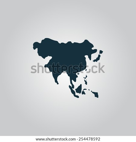 Asia map. Flat web icon, sign or button isolated on grey background.  - stock vector