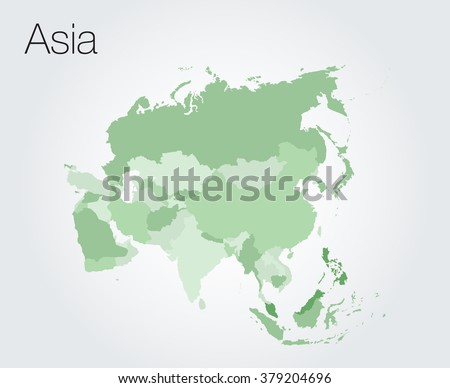Asia map on vector background - stock vector