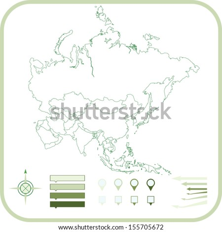 Asia Map, Vector illustration.  - stock vector