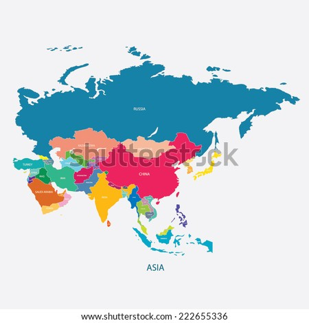 ASIA MAP WITH THE NAME OF THE COUNTRIES illustration vector - stock vector