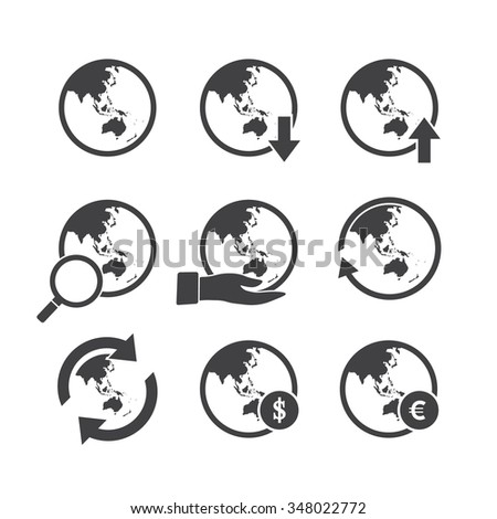 Asia Oceania world map icons set. - stock vector