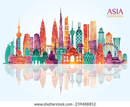 Asia  skyline detailed silhouette. Vector illustration - stock vector